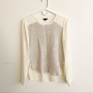 Ann Taylor High Low Knit Sweater Blouse Top Cream